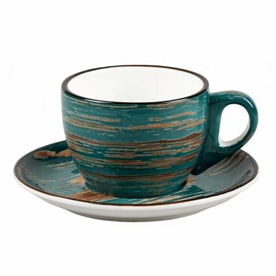 Чайная пара Texture Dark Green Lines 200 мл, 14,5 см, h 6,5 см, P.L. Proff Cuisine